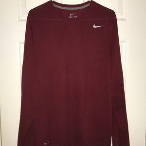 Nike Dri Fit Men's Long Sleeve T-Shirt Burgundy